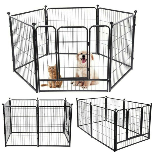 8 Panels Tall Dog Playpen Large Crate Fence Pet Play Pen Exercise Cage amp;USA