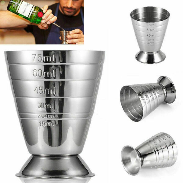 75ml Stainless Spirit Cocktails Measure Cup Alcohol Bar Tending Wine Measurer