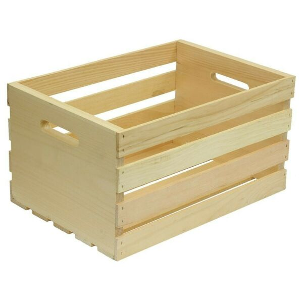 Large Wooden Crate Wood Storage Box Rustic Shelf Slatted 18 x 12.5 x 9.5 in