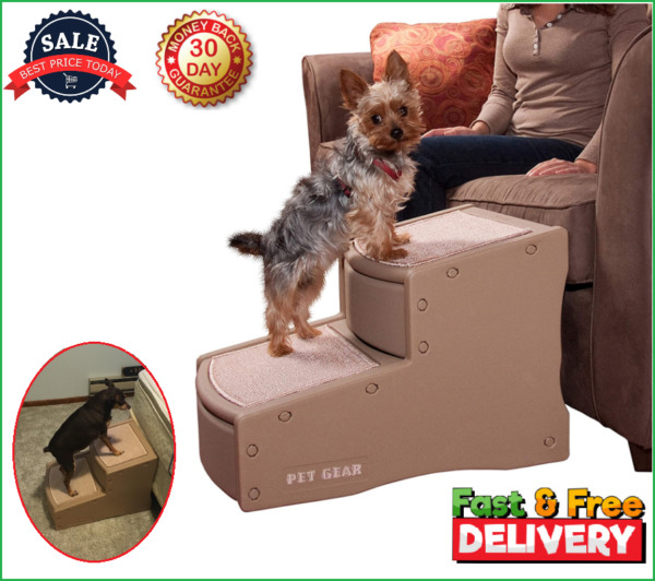 Portable 2 Step Pet Stairs for Cat Dog 150 lbs Removable Washable Carpet Tread