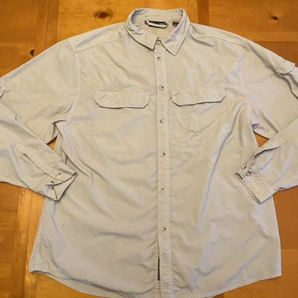 REI Button Front Long Sleeve Beige Fishing Hiking Quick Dry Size L Large $18.88