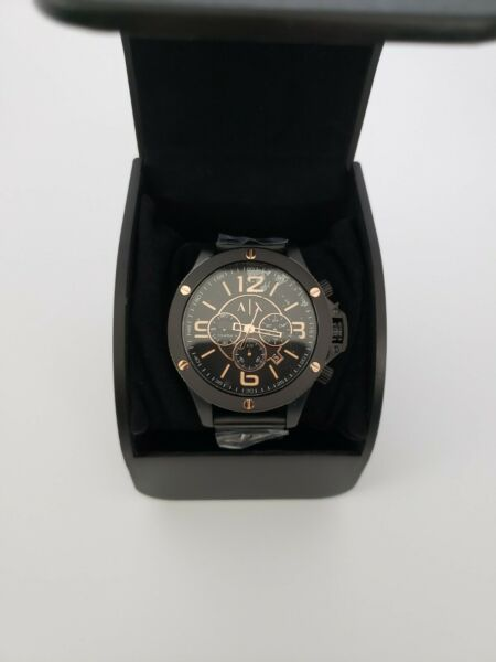 Armani Exchange Chronograph Black Stainless Steel Watch NIB AX1513