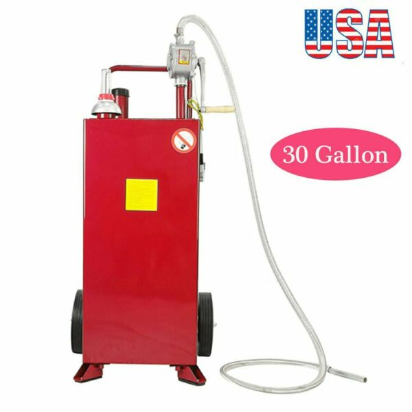 30 Gallon Gas Caddy Tank Storage Drum Gasoline Diesel Fuel Transfer Tool