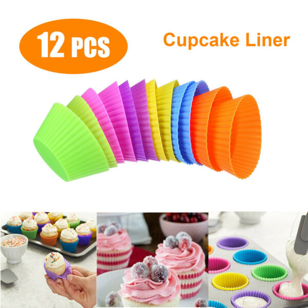 12pcs Silicone Cupcake Liner Holders Bake Cookie Dessert Baking Round Cups Mold