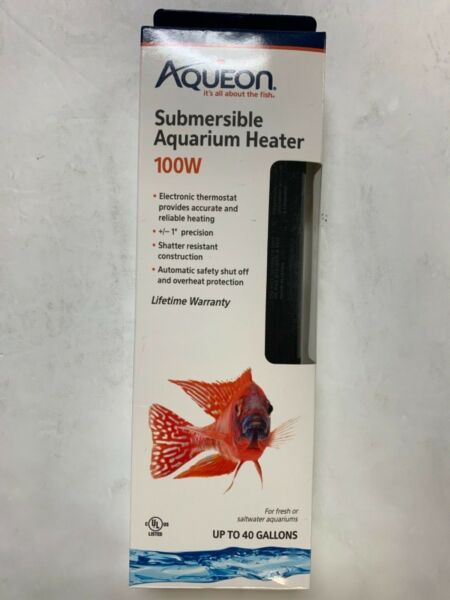 Aqueon Submersible Aquarium Heater 100w Up to 40 Gallons Fresh Saltwater New $14.90