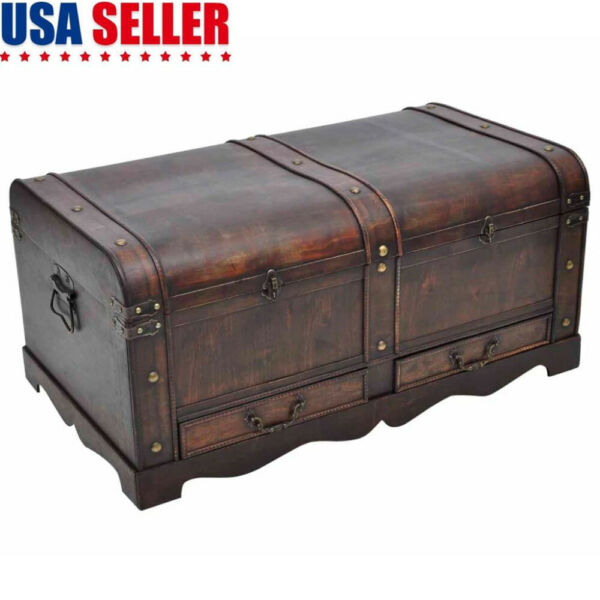 Large Wood Treasure Chest Vintage Coffee Table Storage Trunk Box with Drawers