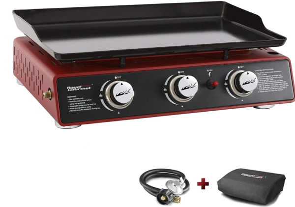 Royal Gourmet PD1301R 24 Inch 3 Burner Portable Table Top Gas Grill Griddle 25