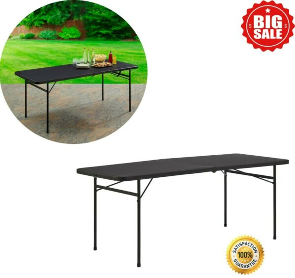 6 Ft Folding Table Half Fold Plastic Portable Home Office Party Travel Black New