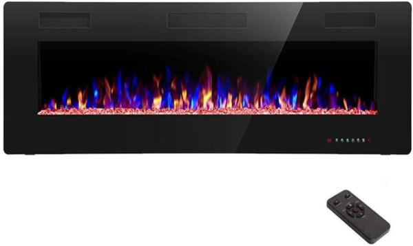 R.W.FLAME Electric Fireplace 60 inch Recessed and Wall MountedThinnest