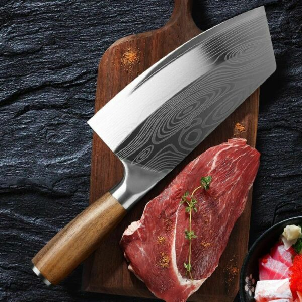 Stainless Steel Asian Chef Knife Kitchen Butcher Damascus Cleaver Chopping Meat