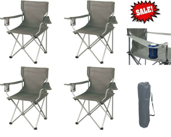 FOLDING CAMP CHAIRS SET OF 4 Outdoor Camping Beach Seats Cup Holder