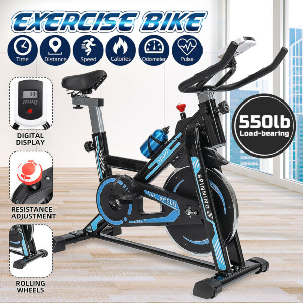 550lb Indoor Exercise Bike Bicycle Cycling Fitness Gym Cardio Workout Stationary $176.98