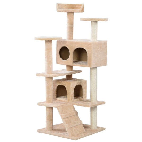 New Cat Tree Tower Condo Furniture Scratch Post Kitty Pet House Play Beige $22.99