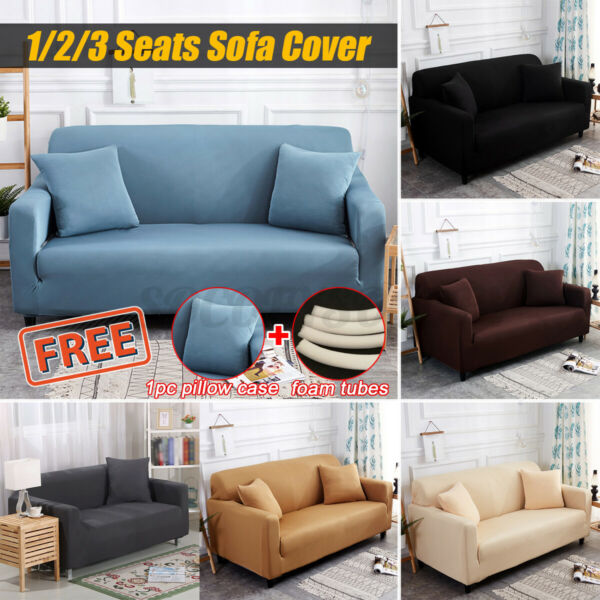 Spandex Elastic Stretch Sofa Cover Solid Color Couch Covers With Seat Slipcovers $15.19