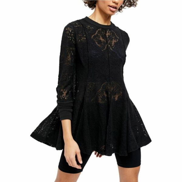 FREE PEOPLE NEW Women#x27;s Coffee In The Morning Open knit Tunic Shirt Top TEDO