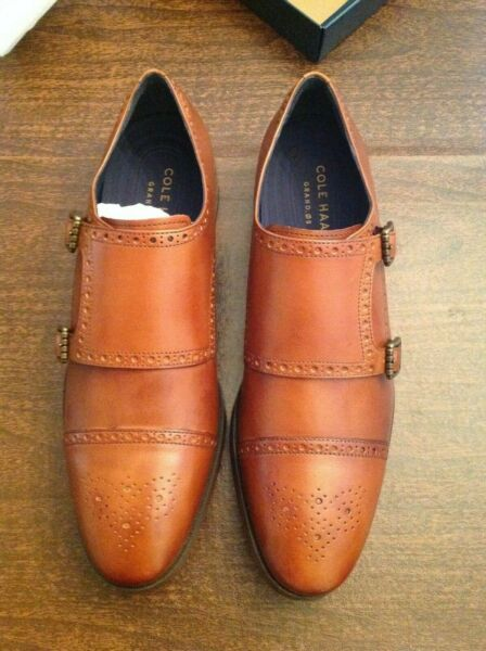 Cole Haan Men#x27;s Jefferson Grand Double Monk Strap BR Tan Leather Shoes 11.5M NIB $299.99