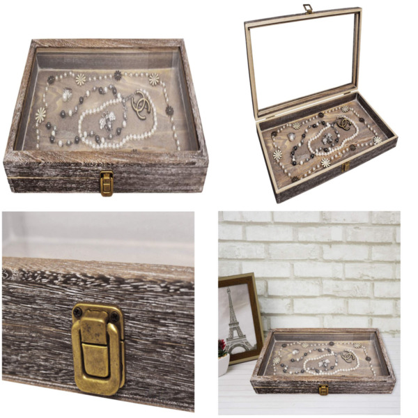 Display Box Wood Glass Top Lid Show Case For Jewelry Tray Watch Storage Orgnizer $25.99