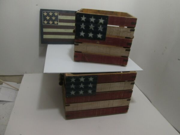 2 Vintage Wooden Crates with American Flags With Handles amp; Wood Flag Sign
