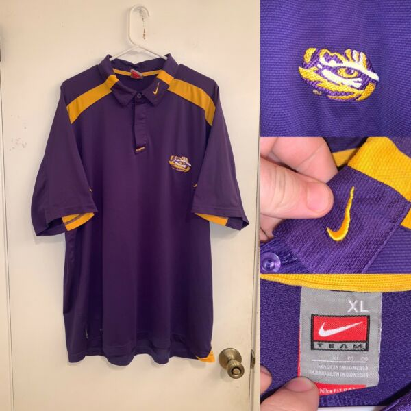 LSU Polo Shirt Mens Size XL Short Sleeve Purple Nike Football Collared NikeFit