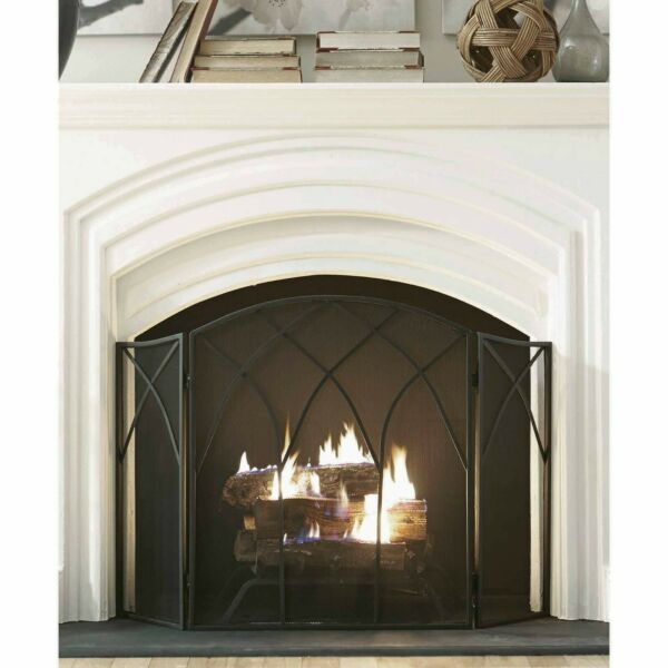 Pleasant Hearth 633 Gothic Steel Fireplace Screen Black NEW FREESHIP