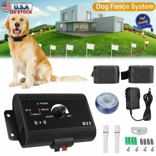 Wireless Electric Dog Fence Pet Containment System Shock Collars For 2 Dogs