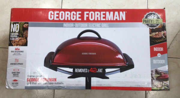 George Foreman 12 Serving Indoor Outdoor Rectangular Electric Grill Red NEW $100.00