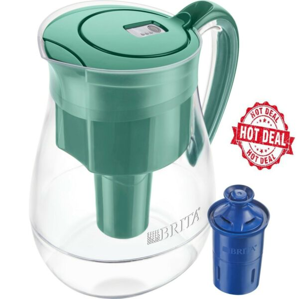 Brita 10 Cup Monterey Water Pitcher with 1 Longlast Filter BPA Free Green
