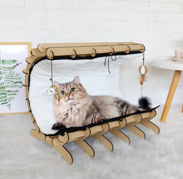 Pet Furniture Cat Bed Warm Hammock Home Castle Removable Cover with Toys Wooden $38.99