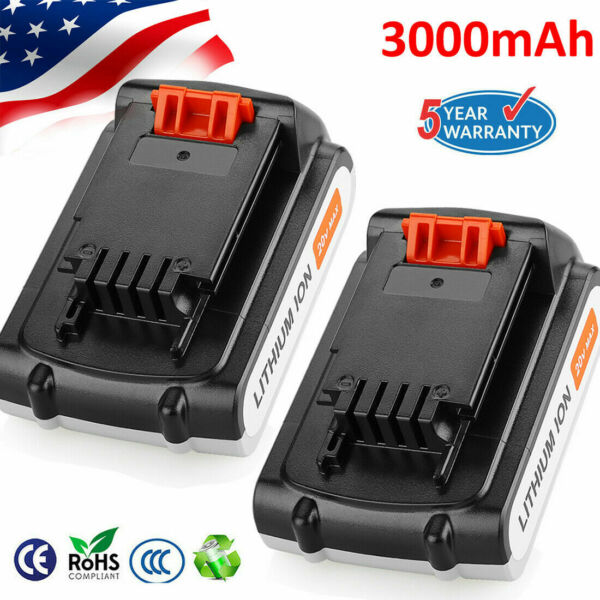 2Pack 3.0Ah For Blackamp;Decker 20V Lithium Ion Battery 20 Volt Li Ion LBXR20 LB20