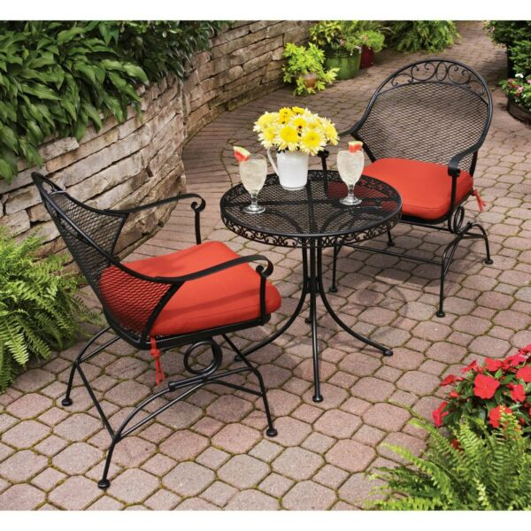 Patio Furniture Set Wrought Iron Table amp; Chairs Outdoor Seating Sets Bistro New