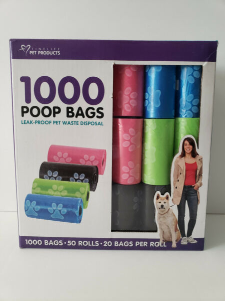 1000 colored Poop Bag Dog Waste Pick up Clean Bags with plastic cores $9.99