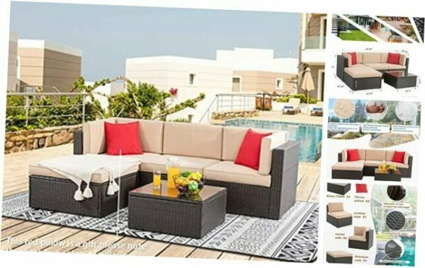 5 Pieces Patio Furniture Sets Outdoor All Weather Sectional Patio Sofa 5 piece $704.42