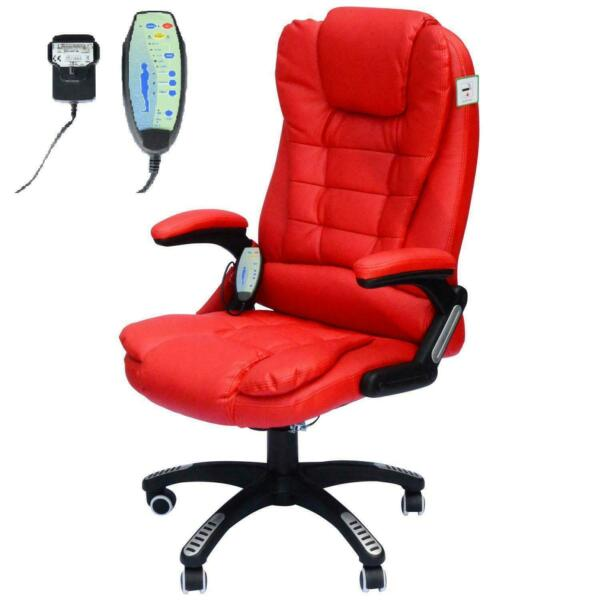 Computer Swivel Chair High Back Red Home Massage Seater HOMCOM PU Office