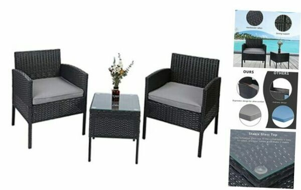 3 Pieces Outdoor Patio Furniture Sets PE Wicker Rattan Chairs Conversation $305.98