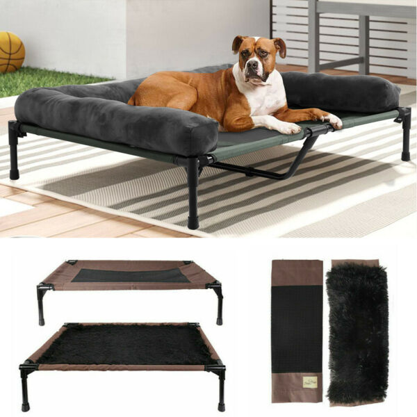 Extra Large Cooling Elevated Dog Bed with Bolster Raised Pet Cot Lounger Indoor $59.91