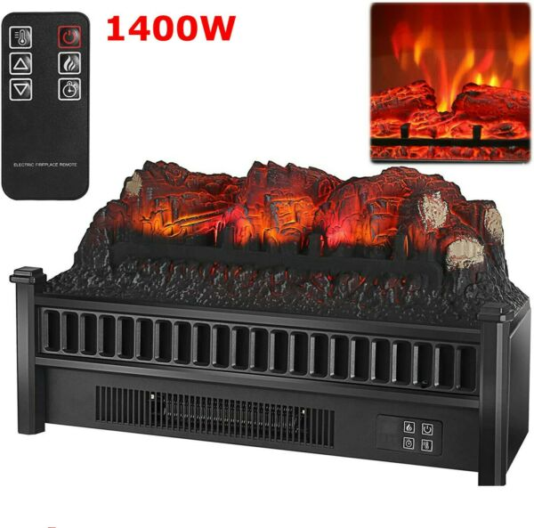 23quot; 1400W Electric Fireplace Log Heater Realistic Flame Hearth Insert Fire LO