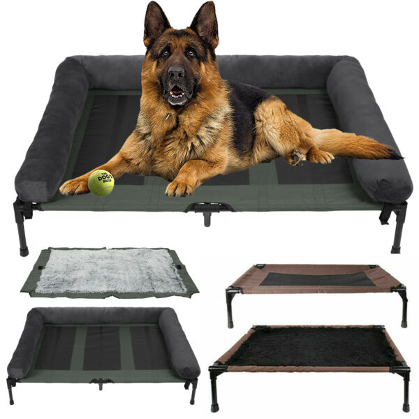 Premium Bolster Elevated Dog Bed 43in Pet Dog Beds for Jumbo Grey bolster Cot $69.97