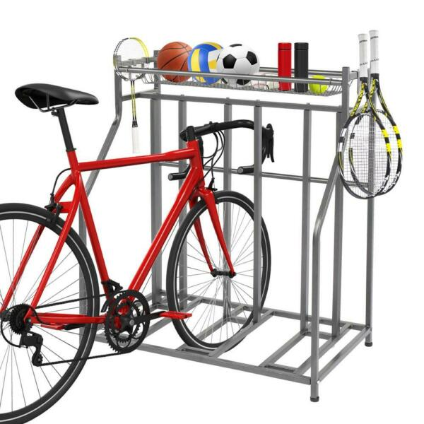 New 4 Bike Stand Rack with Storage Metal Floor Bicycle Nook Great for Parking $99.99