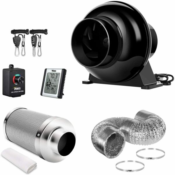 4#x27;#x27; Inline Fan Carbon Filter Ventilation Ducting Combo w Controller Rope Hanger $79.99