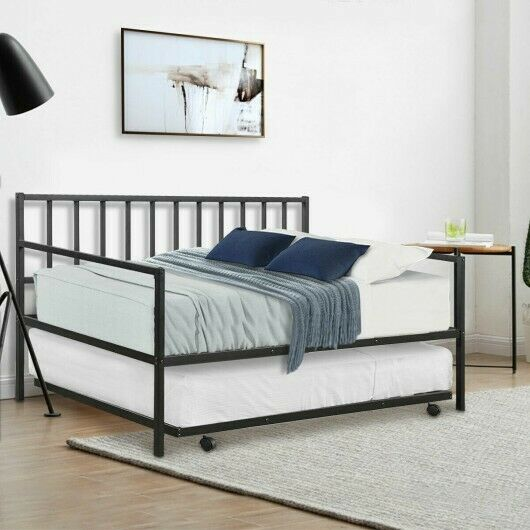 Twin Trundle DayBed w 4 Casters Mattress Platform Bed Sofa DayBed Living Room $199.85