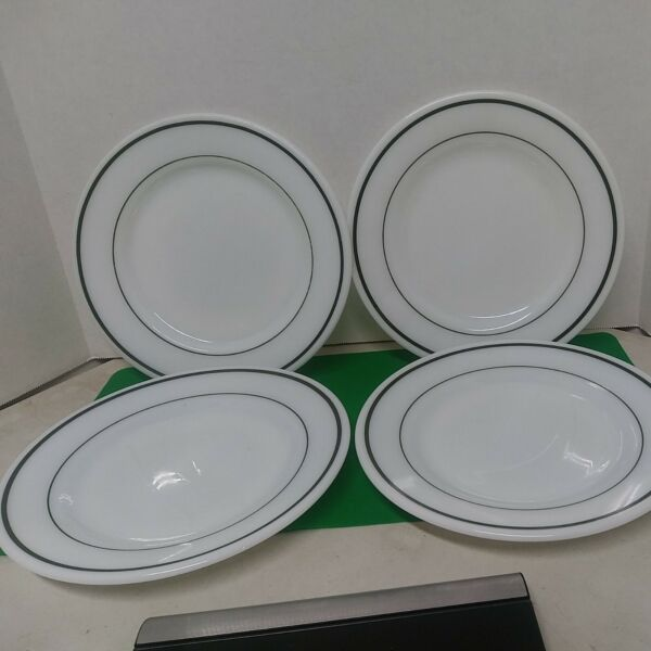 4 Pyrex Tableware by Corning Plate Teal Bands Milkglass Bread Plate 703 18 9 in.