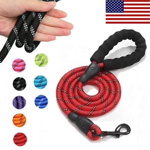 Dog Leash Large Pet Rope Heavy Duty Reflective Nylon Leads with Comfy Handle 5FT $5.99