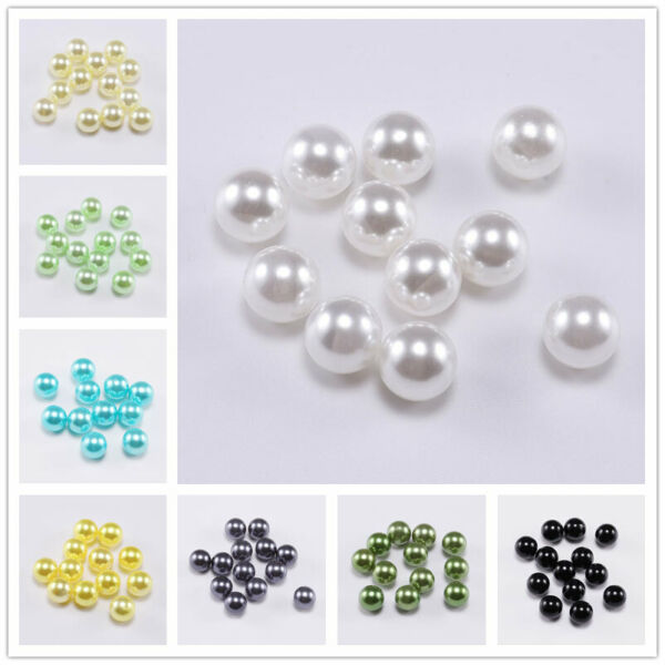 Wholesale Round No Hole ABS Imitation Pearl Loose Beads DIY Craft Jewelry Making C $2.23