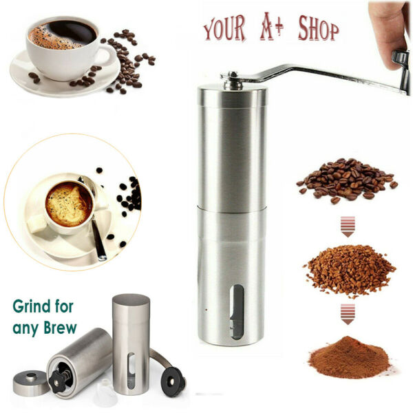 Portable Manual Coffee Grinder Detachable With Ceramic Burr Bean Mill Stainless