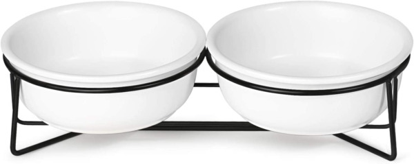 Cat Food Tray Pet Bowls Stand Double Ceramic Small Dog Dishes Feeder 12 Ounces $31.99