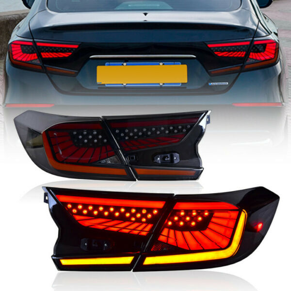 Smoked Led Tail Lights For Honda Accord 2018 2020 Start Up Animation Rear Lamp $288.00