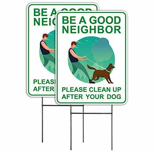 Clean Up After Your Dog Signs 2 Pack 9 x 12 with Metal H Stakes Double $19.24