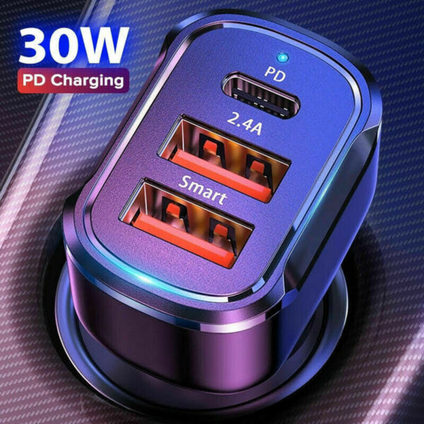 PD 30W Dual USB Type C Car Charger Fast Charge Adapter For iPhone 12 11 Pro Max $6.87
