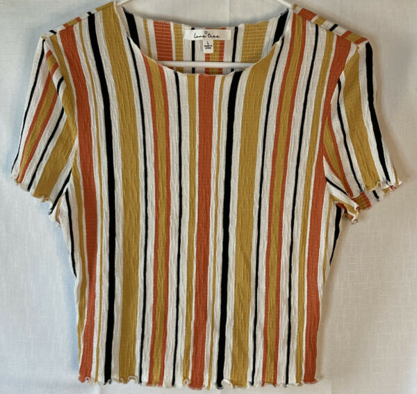 Love Tree Women's Summer Colorful Striped Short Sleeve Crop Top Size Large