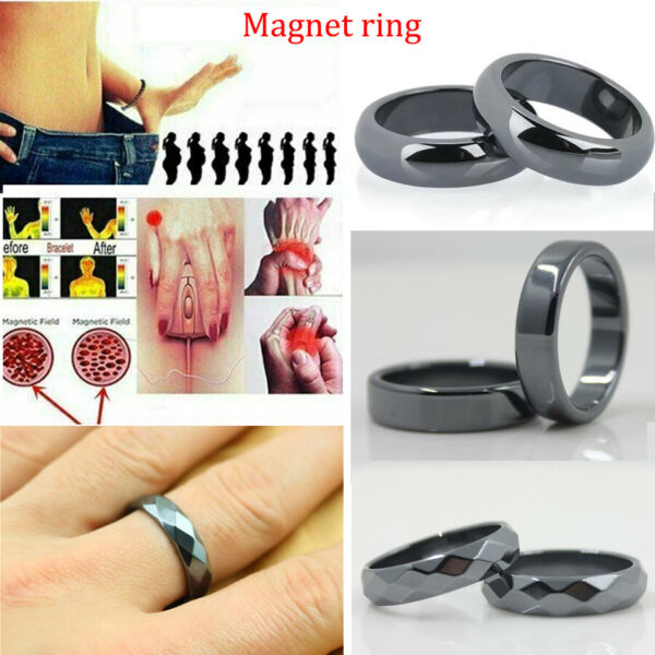 1pcs Black Hematite Ring Men Women Magnetic Weight Loss Pain Relief 8 9 Size Hot